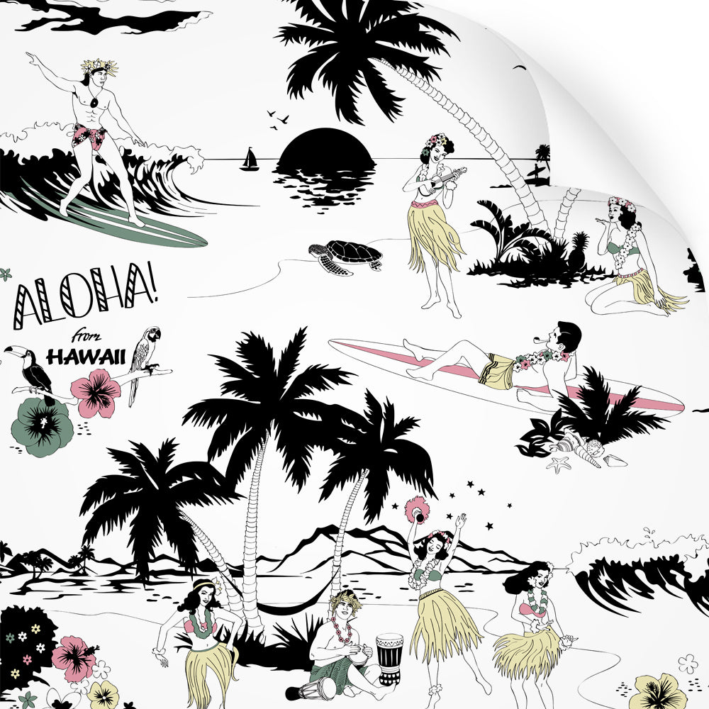 wallpaper swatch with Hawaiian surfer and hula girl design in retro colours