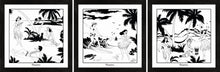 Load image into Gallery viewer, Set of three Hawaiian themed monochrome framed art prints with surfers and hula girls.