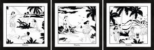 Set of three Hawaiian themed monochrome framed art prints with surfers and hula girls.