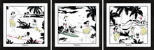 Load image into Gallery viewer, Set of three Hawaiian themed framed art prints with surfers and hula girls.