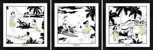 Set of three Hawaiian themed framed art prints with surfers and hula girls.