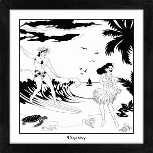 Hawaiian themed monochrome framed art print with surfers and hula girls.