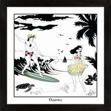 Load image into Gallery viewer, Hawaiian themed framed art prints with surfers and hula girls.