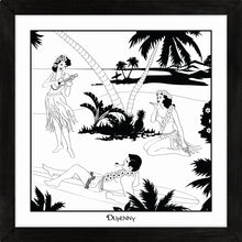 Load image into Gallery viewer, Hawaiian themed monochrome framed art print with surfers and hula girls.