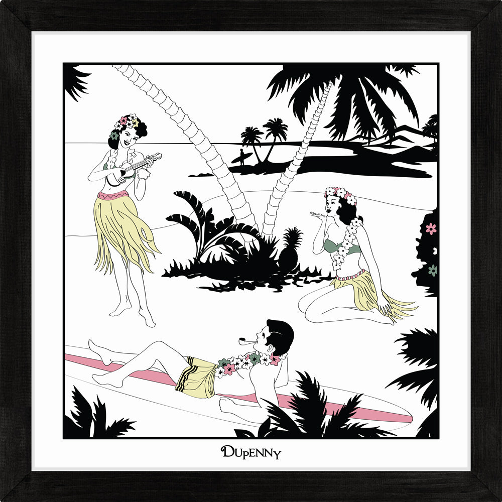 Hawaiian themed framed art prints with surfers and hula girls.