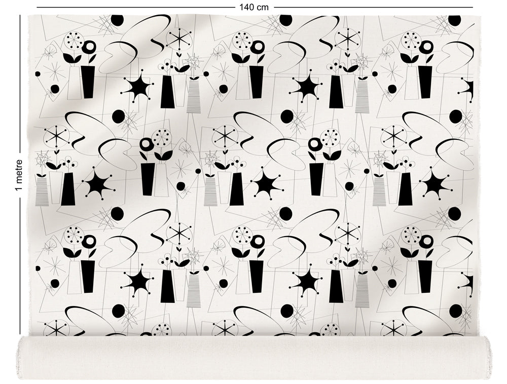 fabric roll with atomic fifties design in black and white