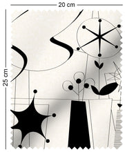 Load image into Gallery viewer, fabric swatch with atomic 60s fifties design in black and white lucienne day