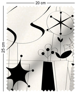 fabric swatch with atomic 60s fifties design in black and white lucienne day