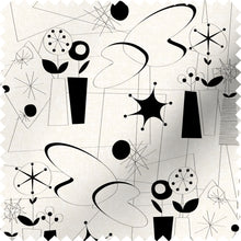 Load image into Gallery viewer, fabric swatch with atomic fifties design in black and white