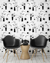 Load image into Gallery viewer, room-shot with atomic fifties wallpaper design in black and white