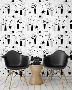 room-shot with atomic fifties wallpaper design in black and white