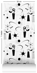 1m wallpaper swatch with atomic fifties design in black and white