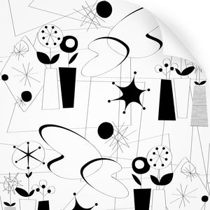 wallpaper swatch with atomic fifties design in black and white