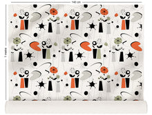 Load image into Gallery viewer, fabric roll with atomic fifties design in retro colours