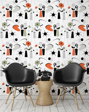 Load image into Gallery viewer, room shot with atomic fifties wallpaper design in retro colours