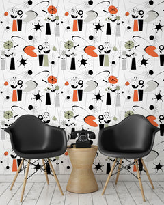 room shot with atomic fifties wallpaper design in retro colours