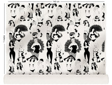 Load image into Gallery viewer, fabric roll with burlesque dancer design in monochrome