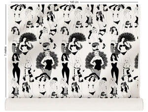 fabric roll with burlesque dancer design in monochrome
