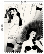 Load image into Gallery viewer, fabric swatch with cabaret burlesque dancer design in monochrome play boy femlin art