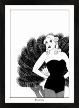 Load image into Gallery viewer, Monochrome art print of burlesque girl with giant fan