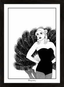 Monochrome art print of burlesque girl with giant fan