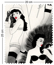 Load image into Gallery viewer, fabric swatch with cabaret burlesque dancer design in monochrome with red lips playboy femlin