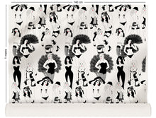 Load image into Gallery viewer, fabric roll with burlesque dancer design in monochrome with red lips