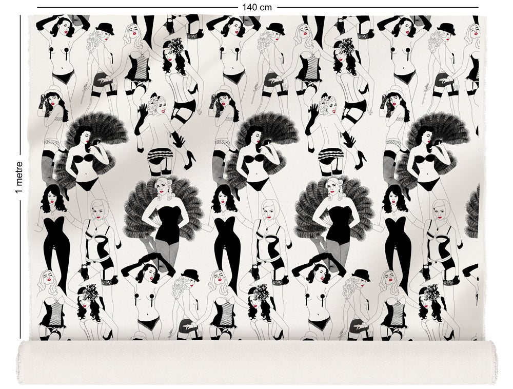 fabric roll with burlesque dancer design in monochrome with red lips