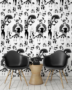 room shot with burlesque dancer wallpaper design in monochrome