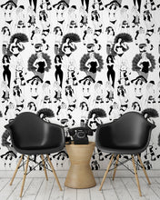 Load image into Gallery viewer, room shot with burlesque dancer wallpaper design in monochrome
