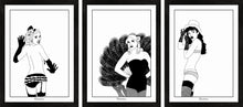 Load image into Gallery viewer, Set of three monochrome burlesque girl art prints