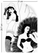 Load image into Gallery viewer, a4 wallpaper sample with burlesque dancer design in monochrome