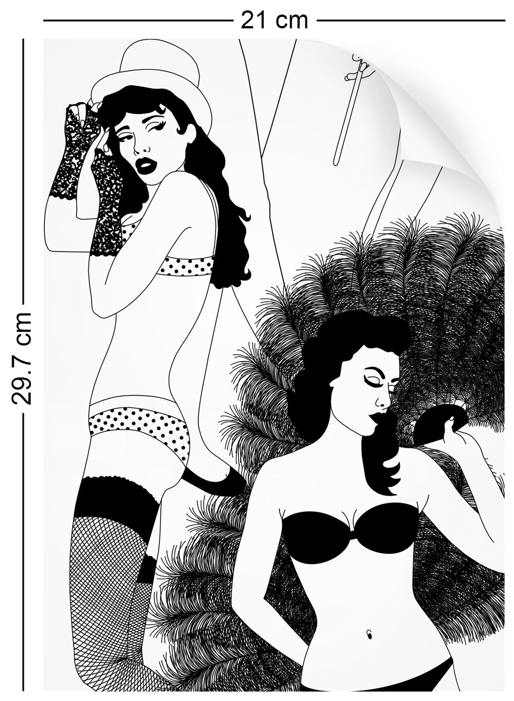 a4 wallpaper sample with burlesque dancer design in monochrome