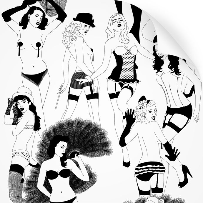 wallpaper swatch with burlesque dancer design in monochrome