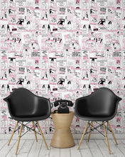 Load image into Gallery viewer, room shot with phone box call card wallpaper design in pink.