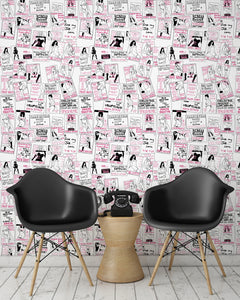 room shot with phone box call card wallpaper design in pink.