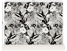 Load image into Gallery viewer, fabric roll with floral garden design in black and white