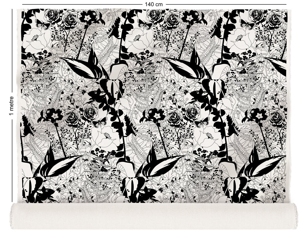 fabric roll with floral garden design in black and white