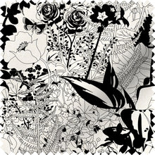 Load image into Gallery viewer, fabric swatch with floral garden design in black and white
