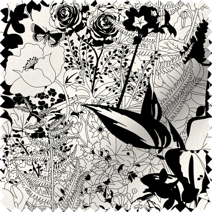 fabric swatch with floral garden design in black and white