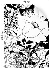 Load image into Gallery viewer, a4 wallpaper swatch with floral garden design in black and white