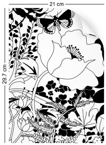 a4 wallpaper swatch with floral garden design in black and white