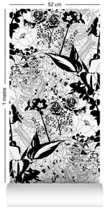 1m wallpaper swatch with floral garden design in black and white