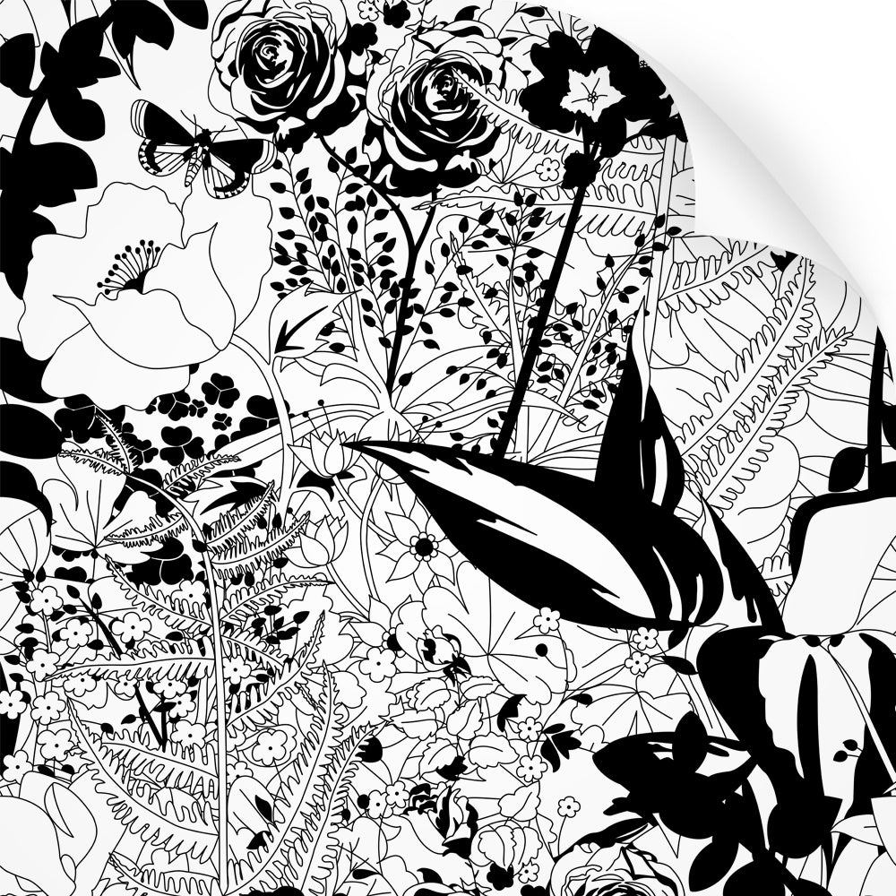 wallpaper swatch with floral garden design in black and white