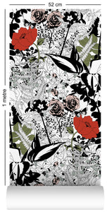 wallpaper roll with floral garden design in colour