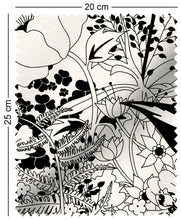 Load image into Gallery viewer, fabric swatch with floral english country garden design in black and white