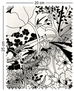 fabric swatch with floral english country garden design in black and white