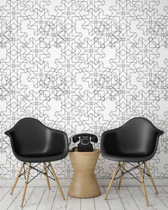 room shot with retro geometric wallpaper design in monochrome
