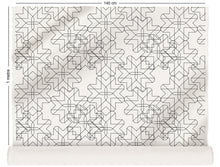 Load image into Gallery viewer, fabric roll with retro geometric design in monochrome
