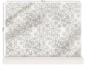 fabric roll with retro geometric design in monochrome